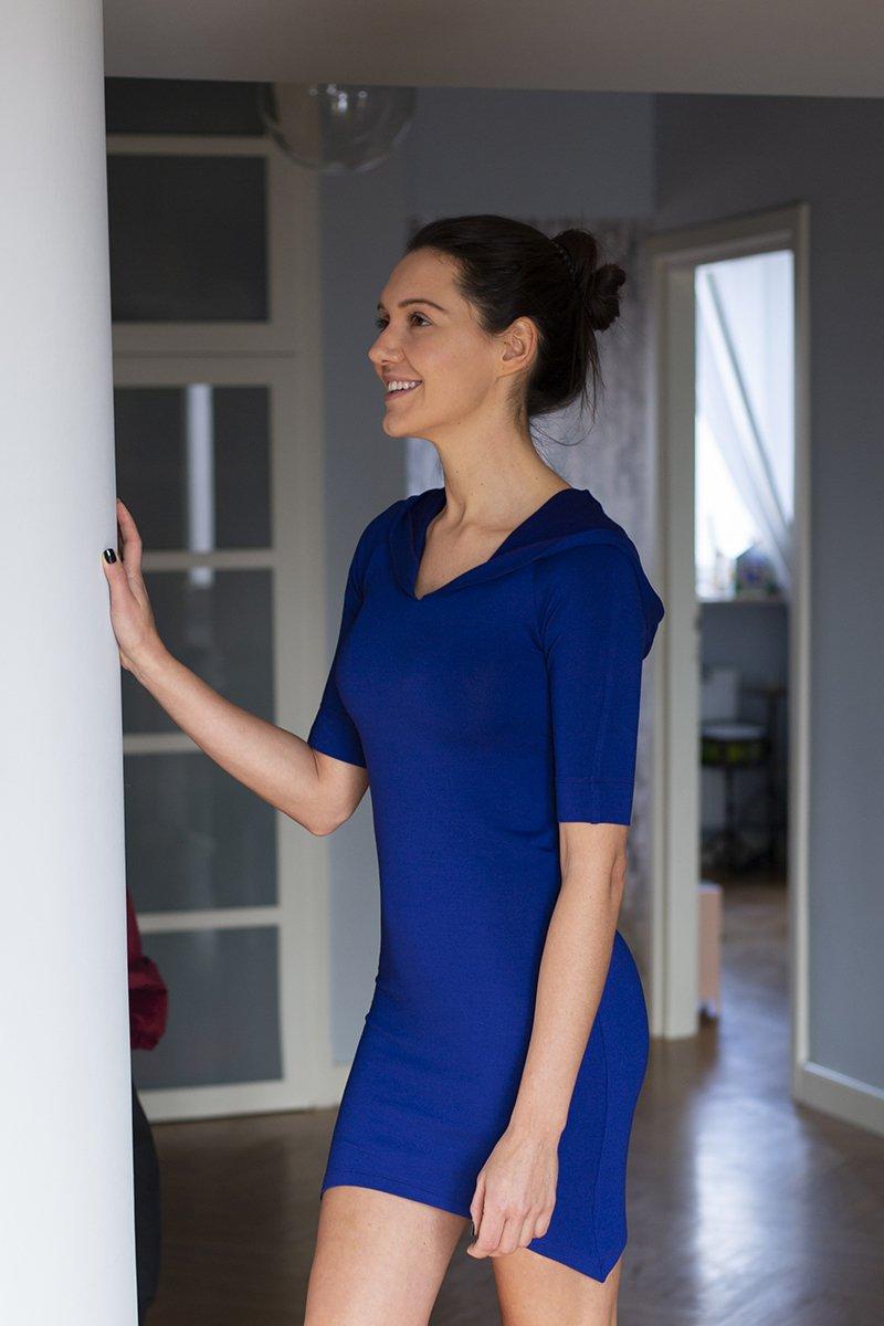 TUNIKA Z KAPTUREM art blue