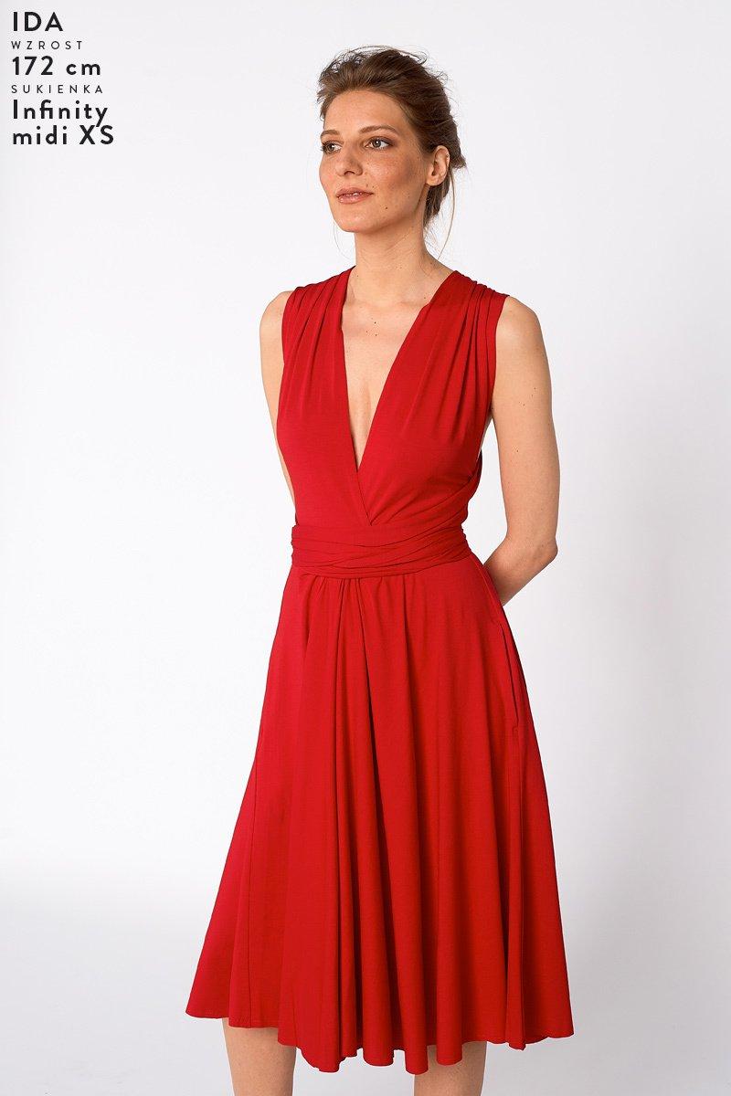 INFINITY DRESS midi red