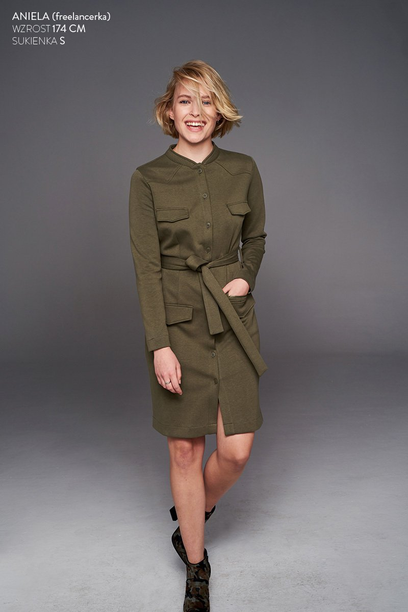 NEW YORK TIMES DRESS military green