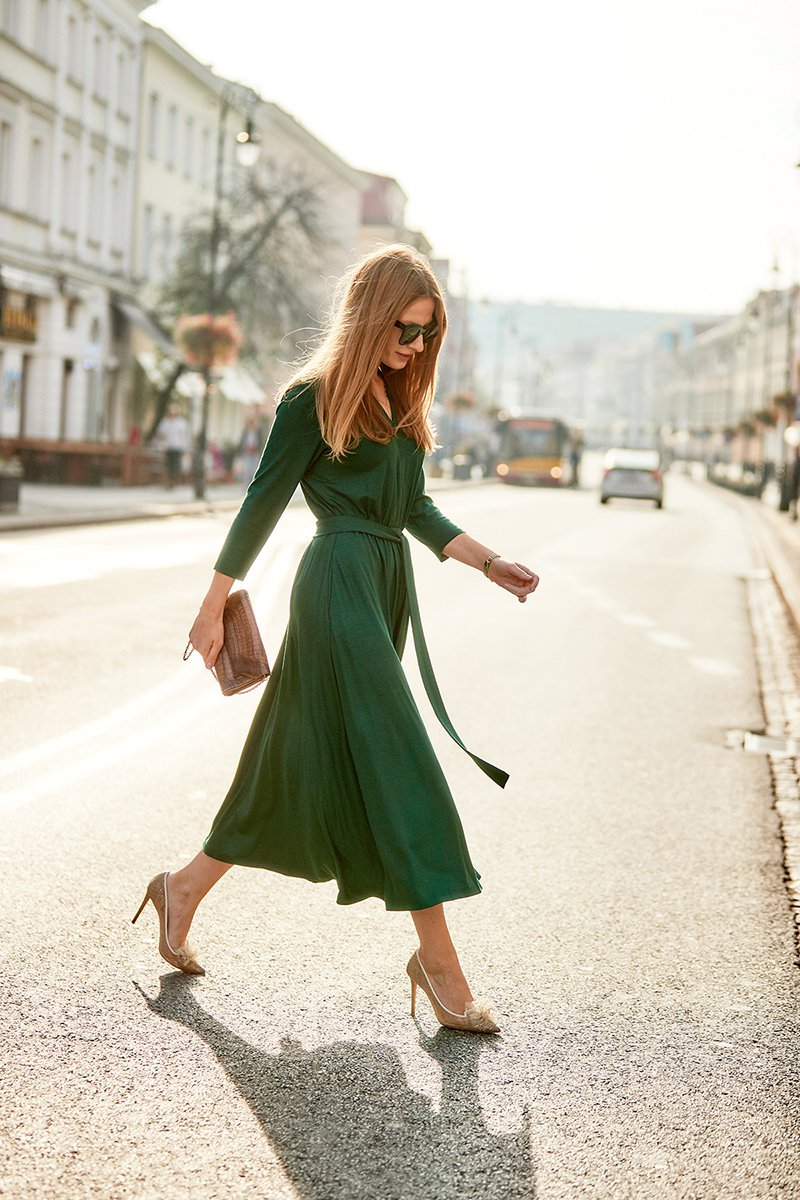 LIBERTY DRESS dark green