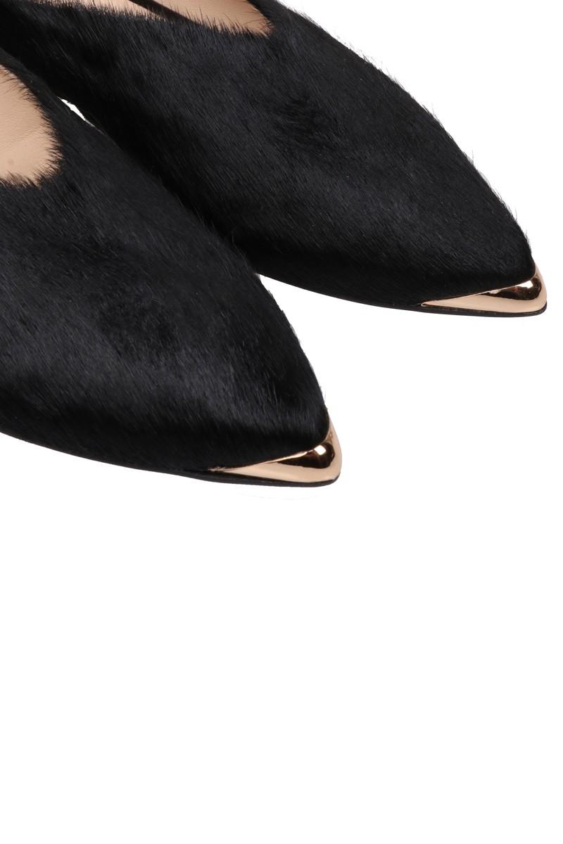 Skórzane klapki czarny włos