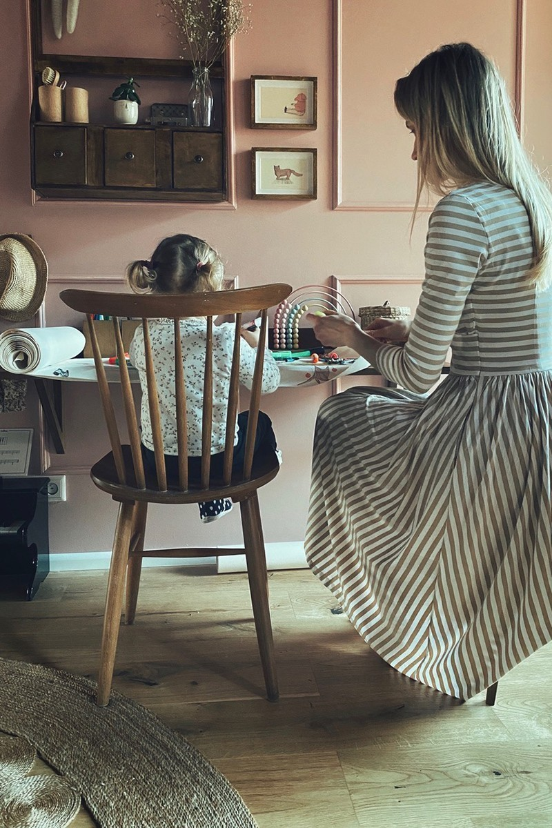 WRAP DRESS beige stripes