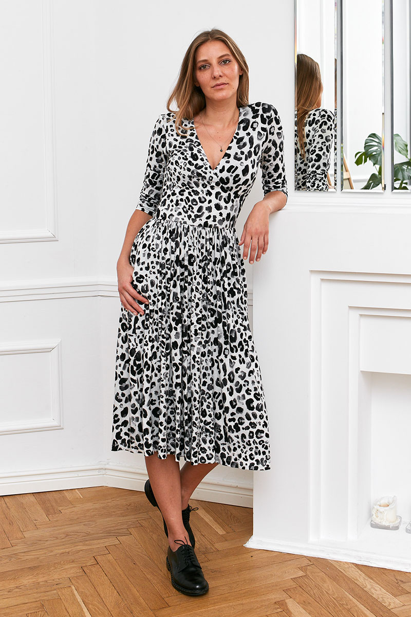 WRAP DRESS black panther print