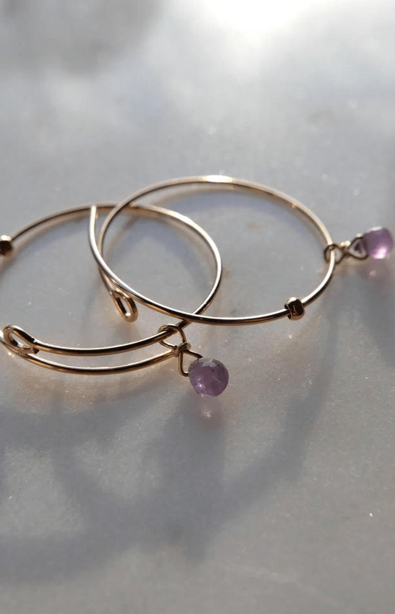 HOOP EARRINGS with pink sapphires
