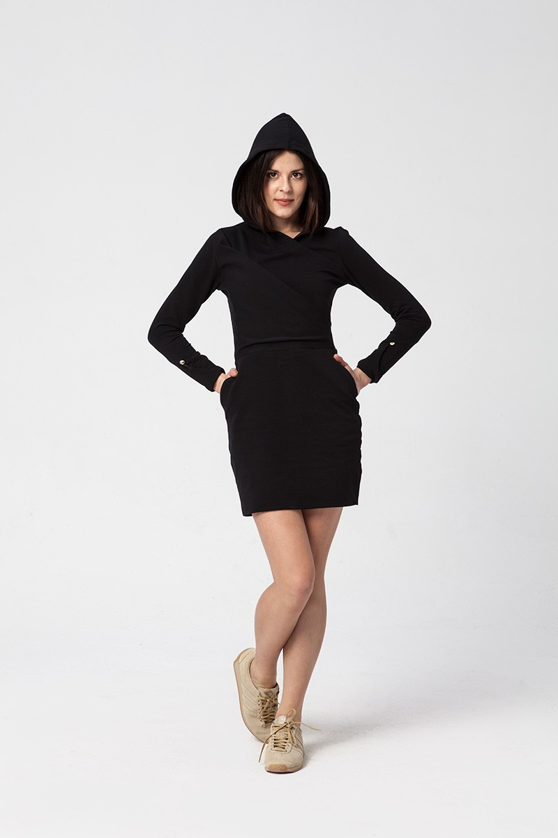 SUPER LITTLE HOODED BLACK DRESS