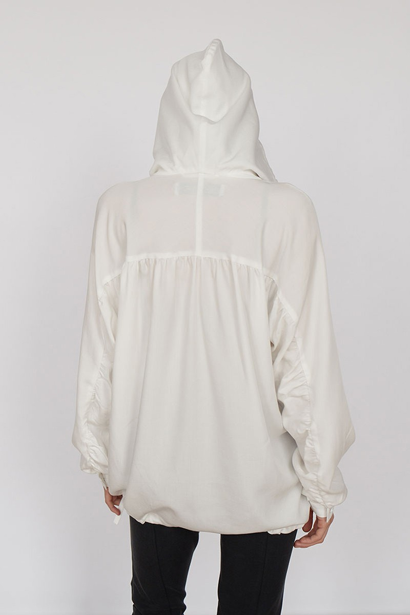 SUPER SHIRT WITH HOOD white