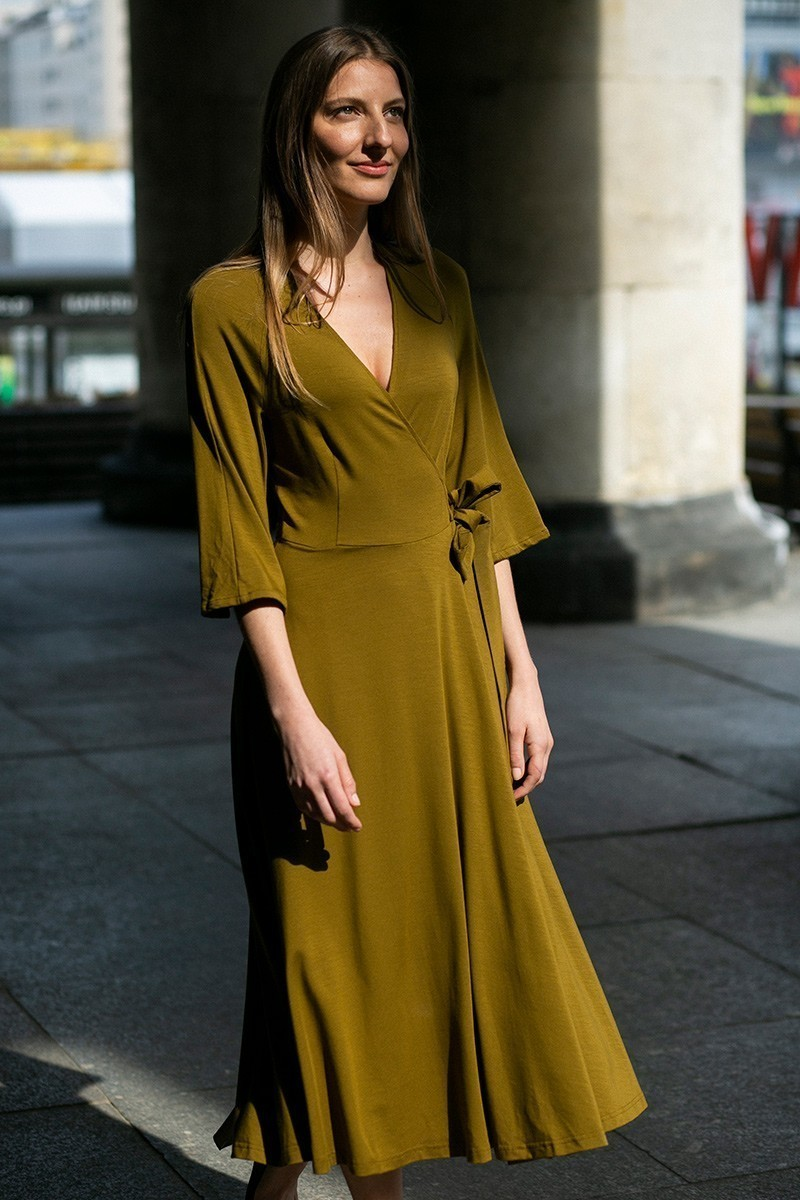 SUPER DRESS złote khaki