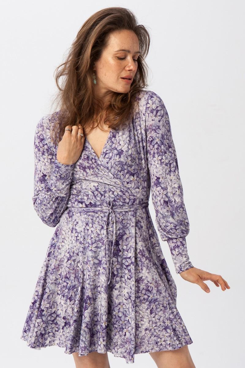 HIPPIE DRESS lilac flowers print