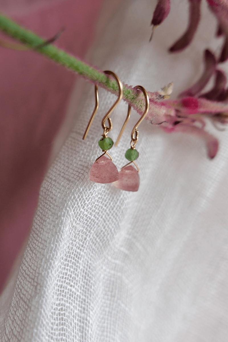 QUARTZES & APATITES EARRINGS pink