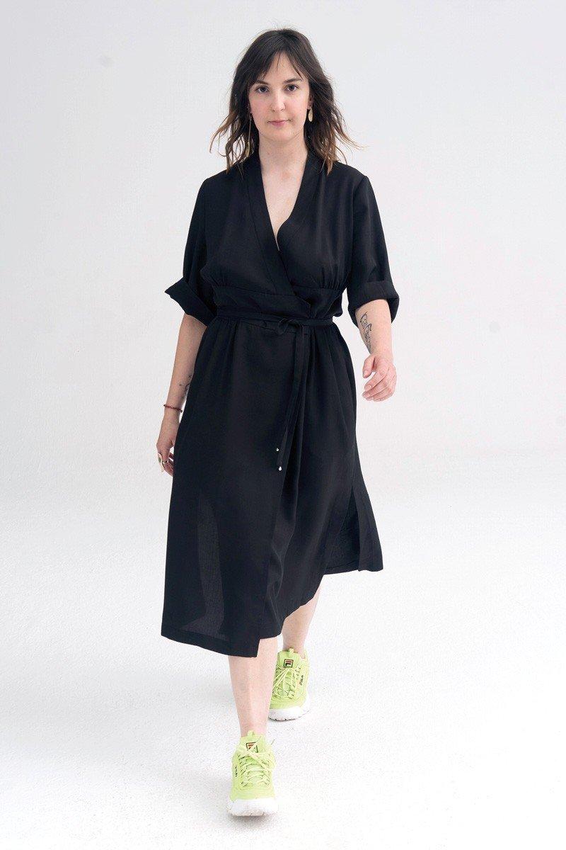 HIGH-WAISTED DRESS black