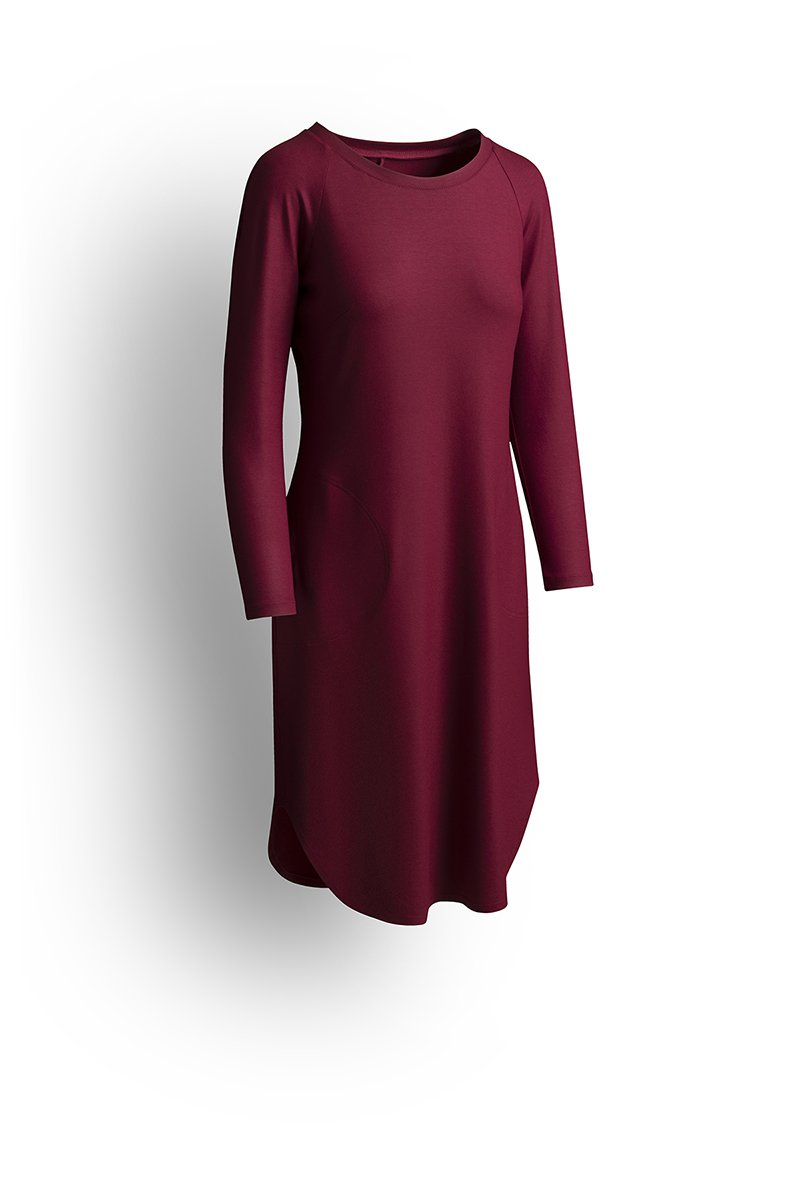 T-SHIRT DRESS WITH SLEEVES vintage bordo