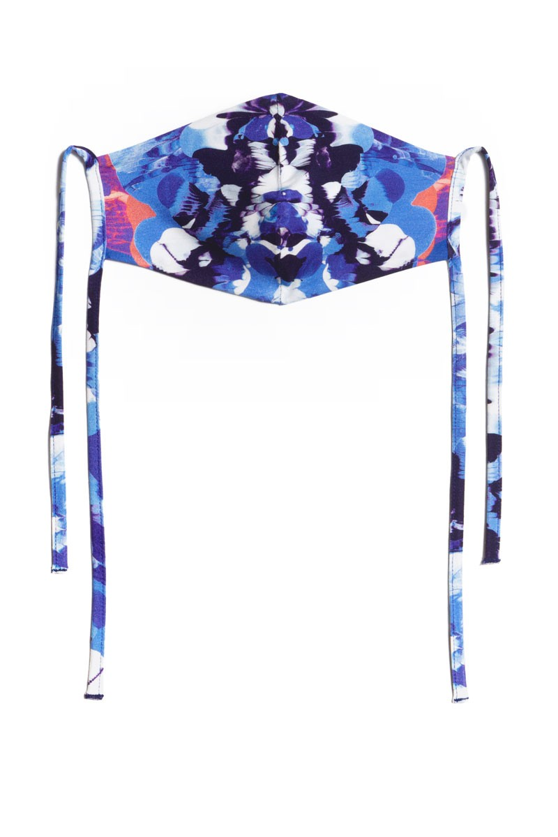 FACE MASK blue Rorschach print