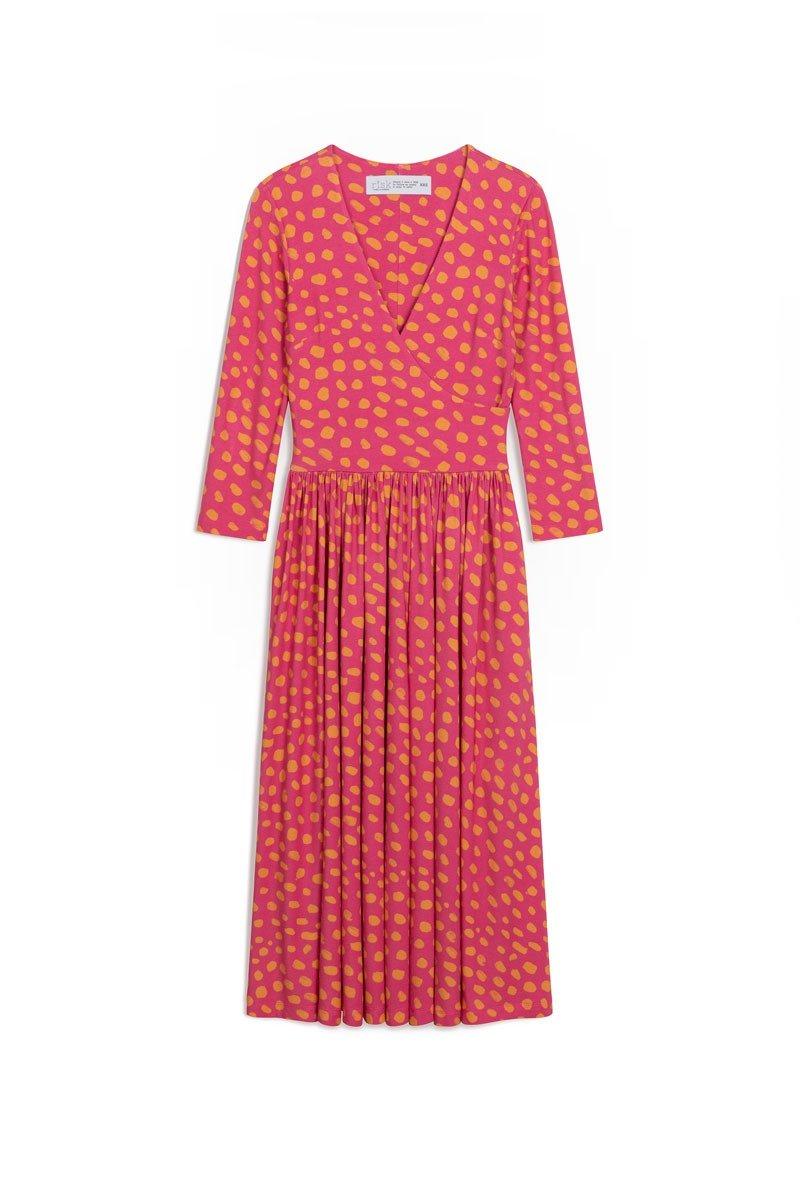 WRAP DRESS dots Naples yellow & vermilion