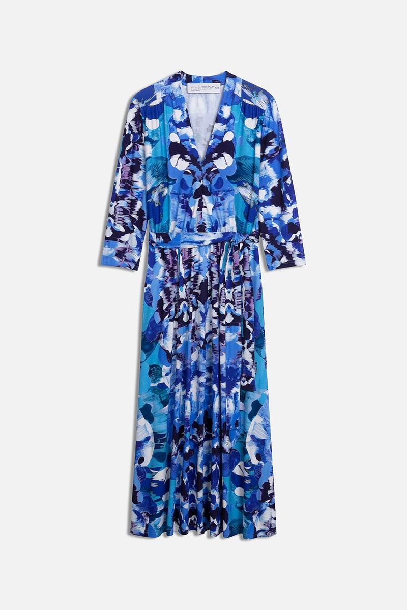 LIBERTY DRESS blue Rorschach print
