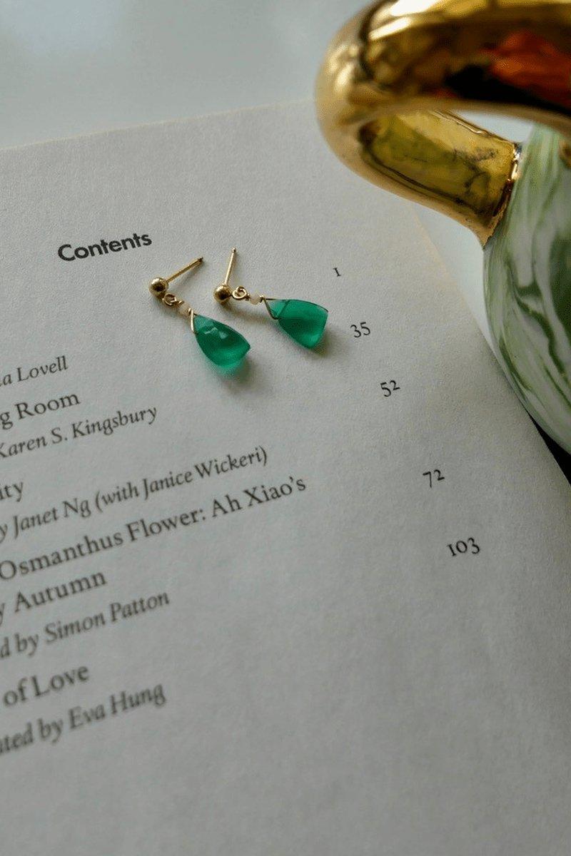 GREEN ONYXES & PINK OPALS EARRINGS